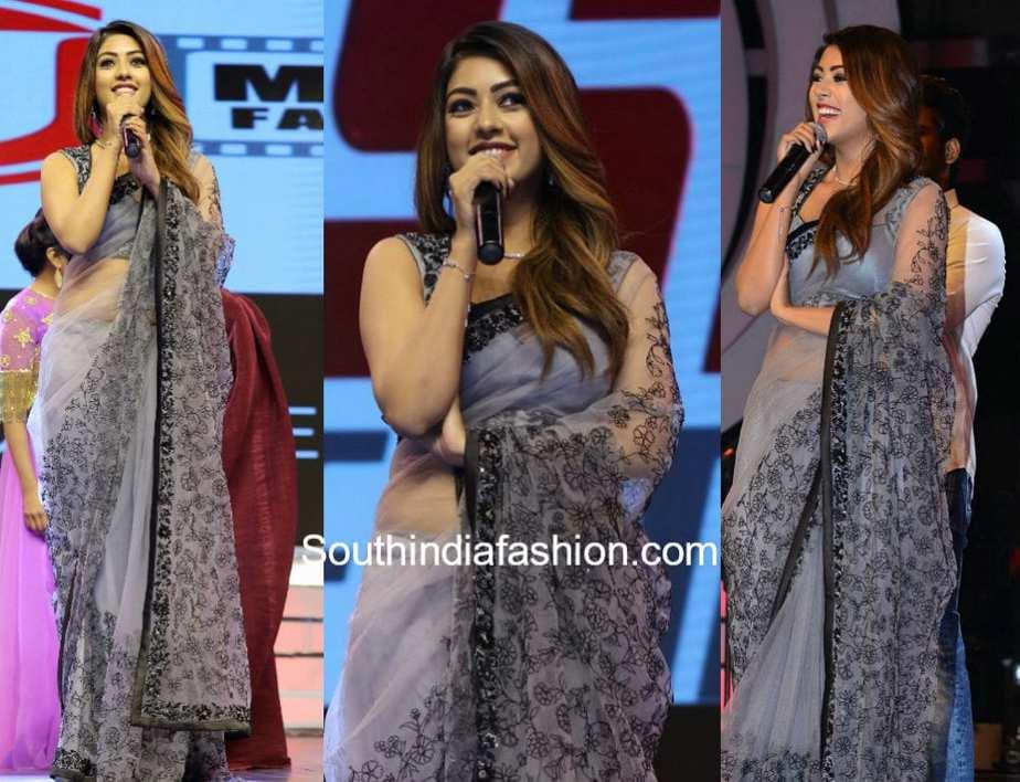 anu emmanuel in grey saree by sashi vangapalli at agnyaathavasi audio launch