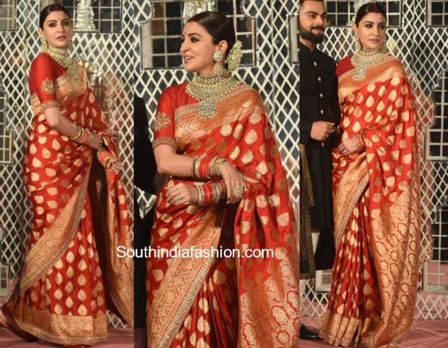 anushka sharma wedding reception saree sabyasachi