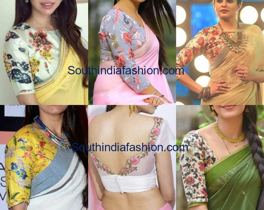 plain saree floral blouse