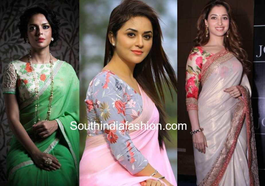 plain saree with floral blouse design