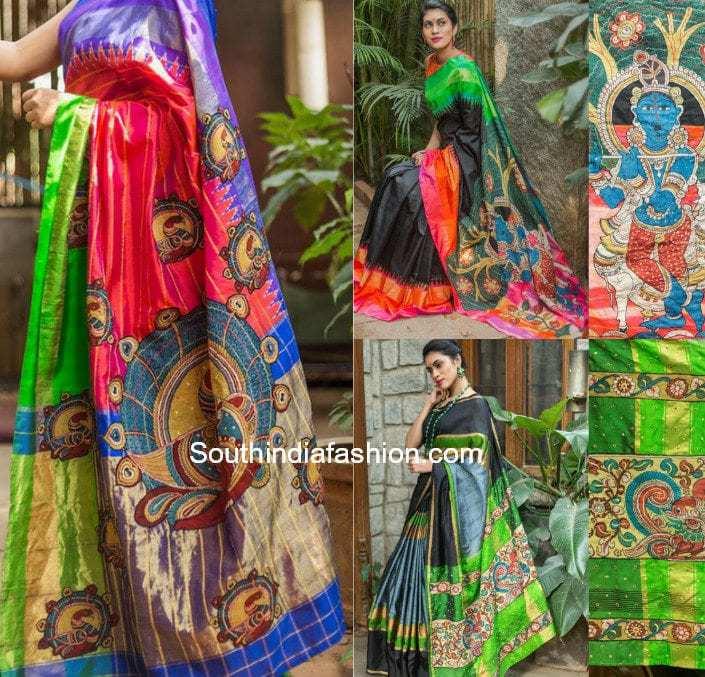 Handpainted Kalamkari appliqued sarees