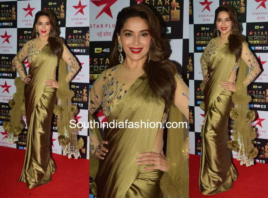 madhuri dixit in manish malhotra saree at star screen awards 2017