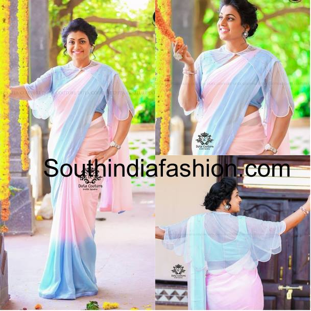 Roja in tie and dye sare and cape blouse