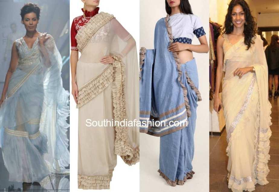 sarees with ruffles
