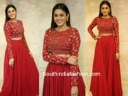 sana makbul red long skirt crop top