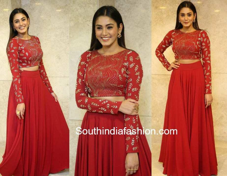 sana makbul red long skirt crop top