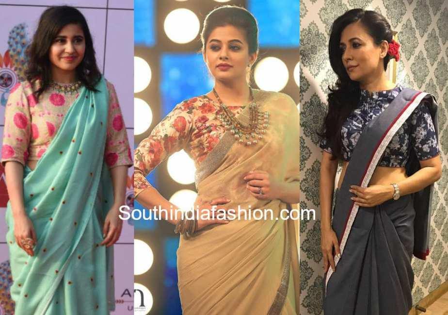 plain saree floral blouse