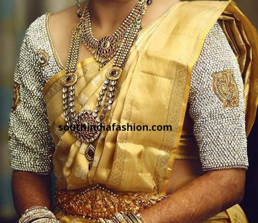 Stone Sleeves Embroidery For bridal blouses