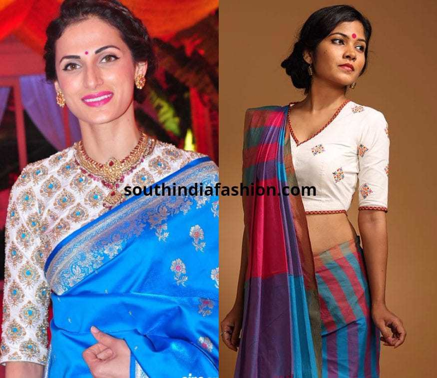 Shilpa Reddy in white blouse with pattu saree