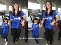 Aishwarya Rai and Aaradhya Bachchan in a sporty look at the airport