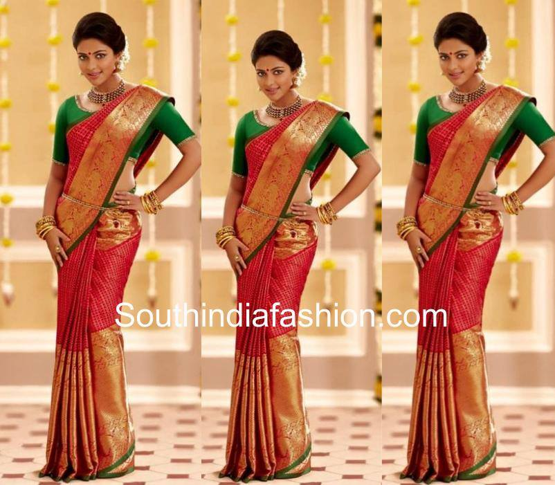 Amala paul in red saree and green blouse