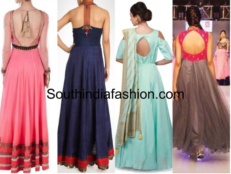 Different styles of back open anarkalis