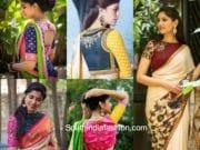 Contrast Sleeve Saree Blouse