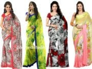 FLORAL PRINT CHIFFON AND GEORGETTE SAREES ONLINE