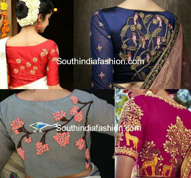 High Back Neck Embroidery Blouses Designs 1