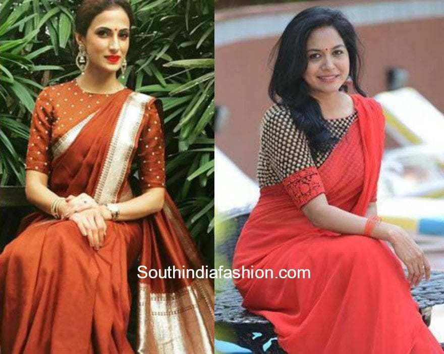 Simple High Neck Elbow Sleeves Blouse Designs South India Fashion