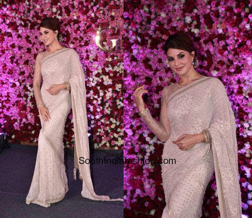Jacqueline Fernandez in a white saree