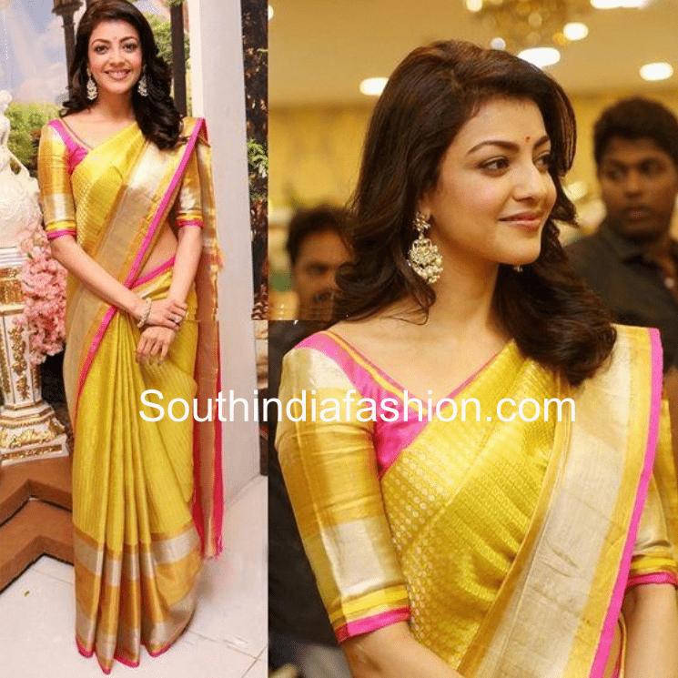 Kajal in yellow saree pink blouse