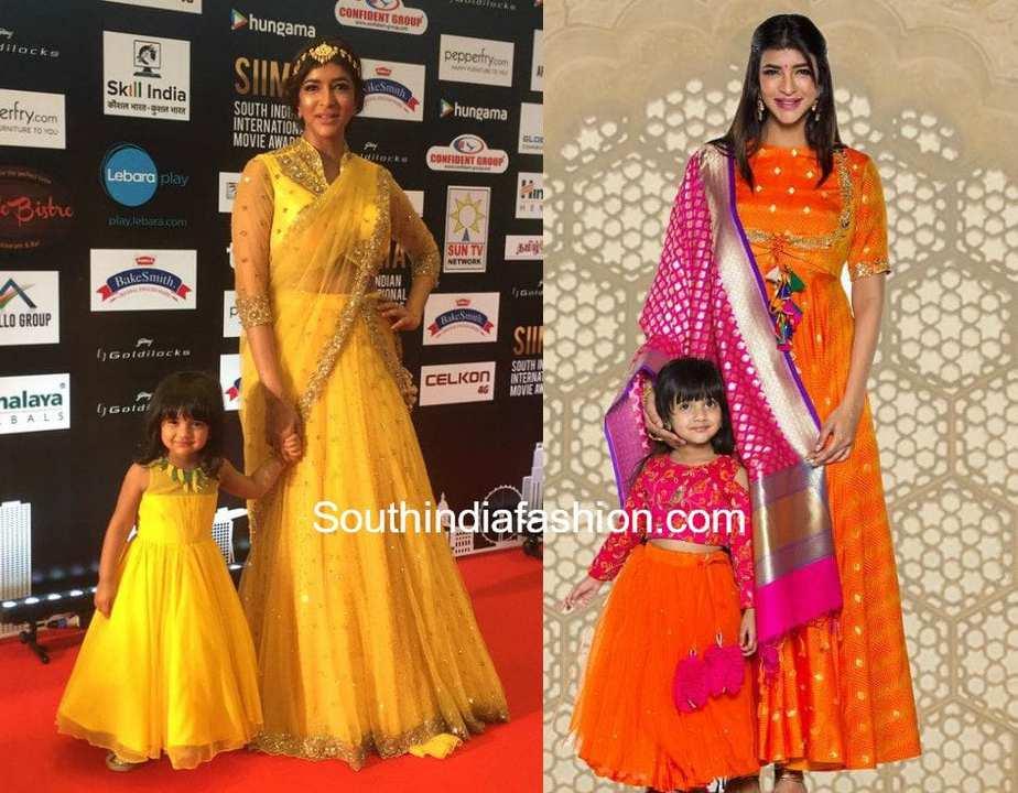 LAKSHMI MANCHU AND DAUGHTER MATCHING DRESSES
