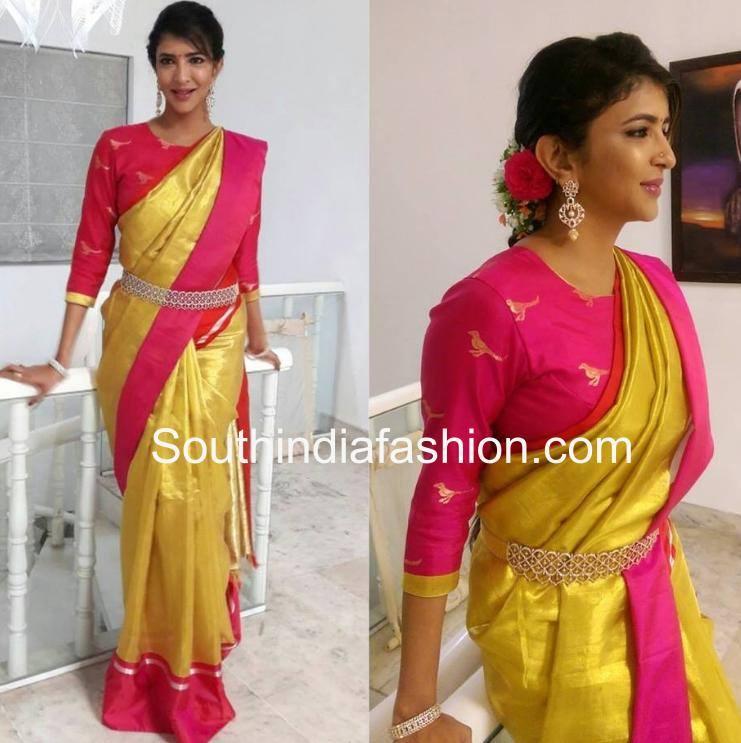 Lakshmi in yellow saree and pink blouse