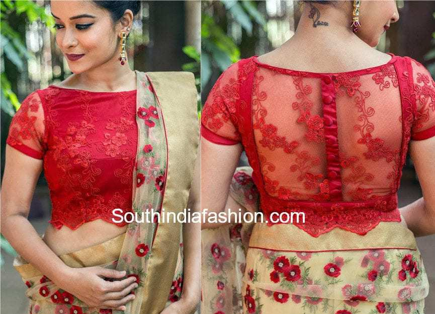 5 stylish net blouse designs south india fashion for Net designs