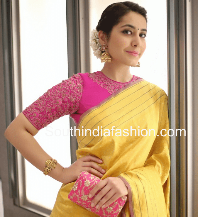 Raashi in yellow saree pink blouse
