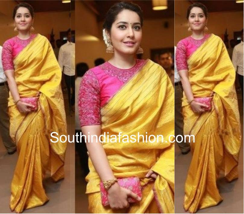 Raashi in yellow saree and pink blouse