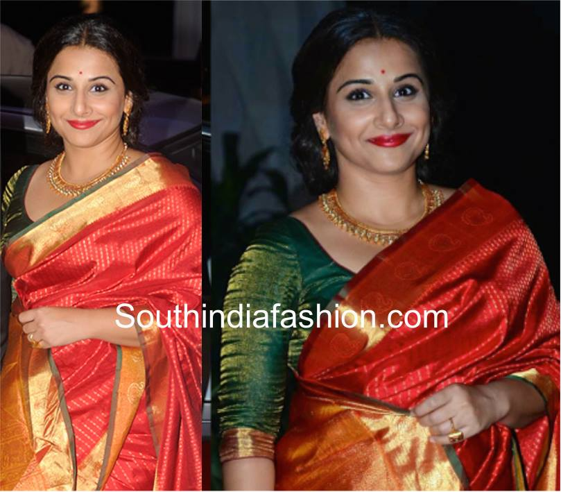 Red saree and green blouse