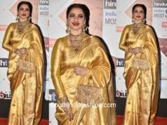 Rekha in a kanjeevaram saree at HT Most Stylish Awards 2018