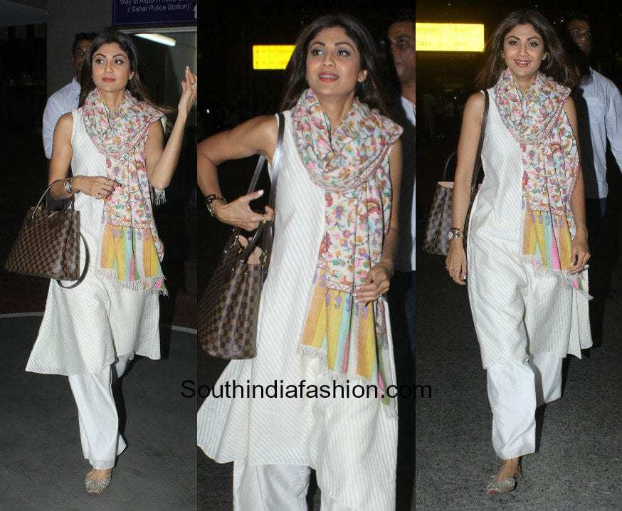 Shilpa Shetty in a salwar at the airport