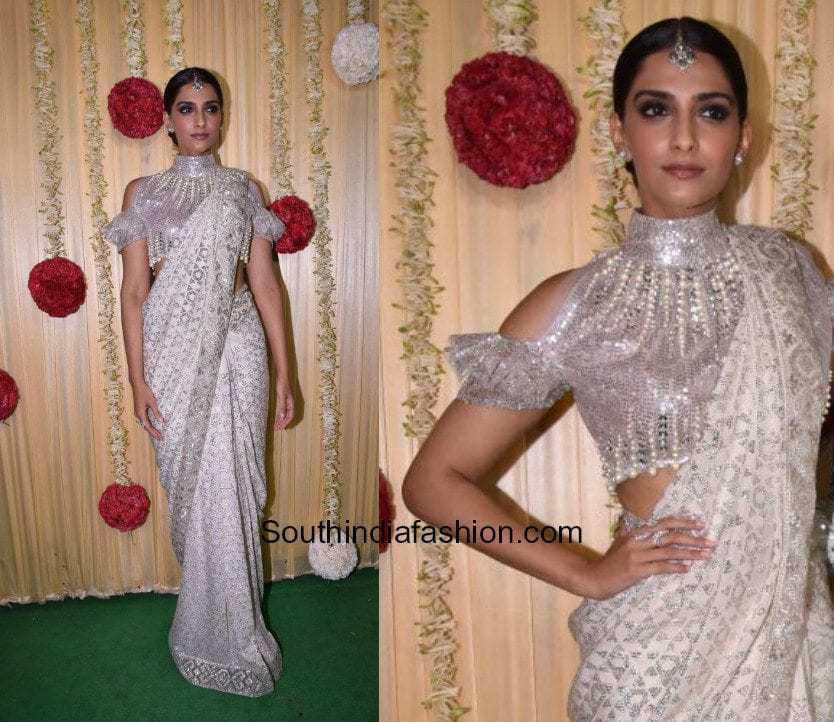 Sonam Kapoor in a white saree