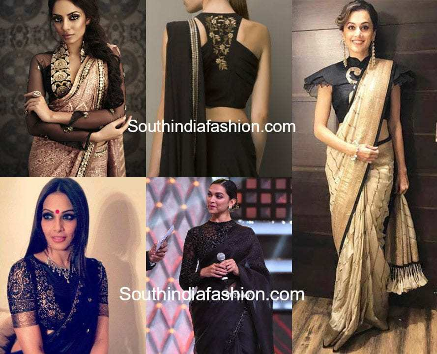 45f48ce79f Stylish Black Blouse Designs Featured Black Saree Blouses