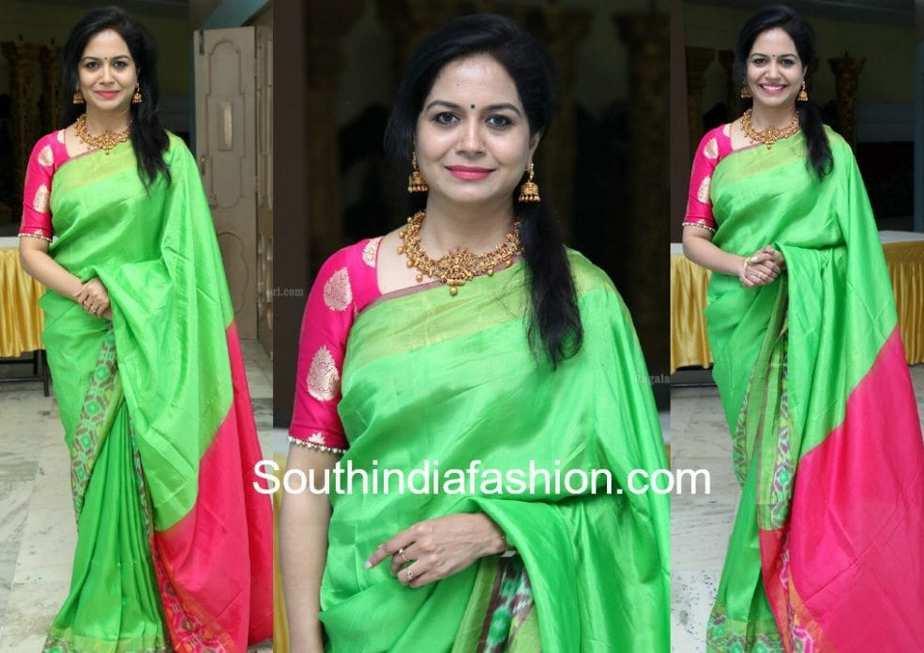 Sunitha green silk saree and pink blouse