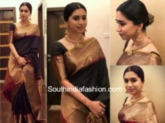 aarti ravi in black kanjeevaram saree