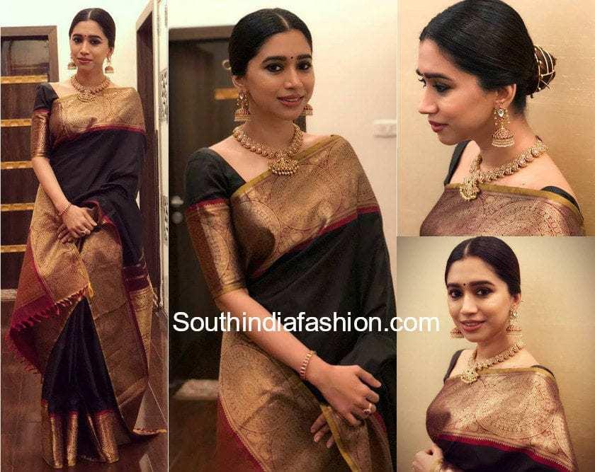 aarti ravi in black kanjeevaram saree