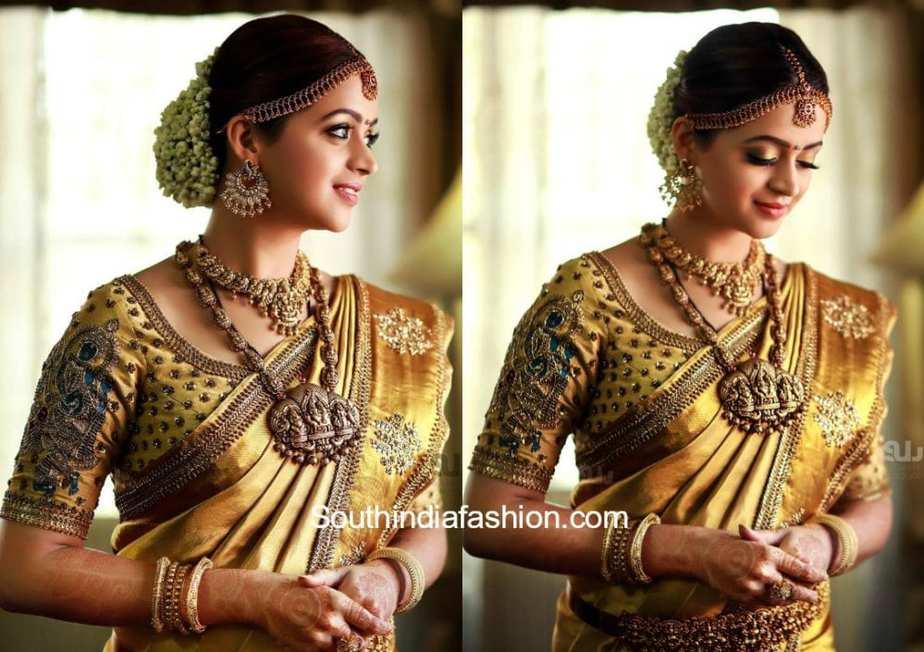 actress bhavan wedding saree and blouse