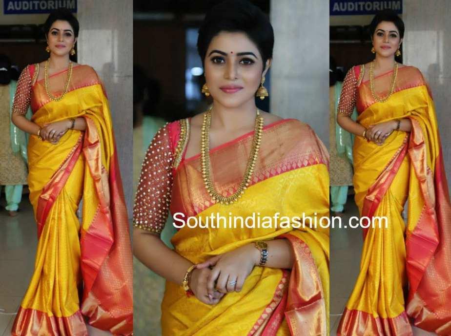 Poorna In A Yellow Silk Saree At Bhavana And Naveen Wedding