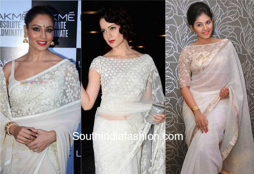 actress in white saree with white blouse