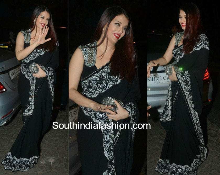 Aishwarya Rai Bachchan Black Saree 2018 South India Fashion