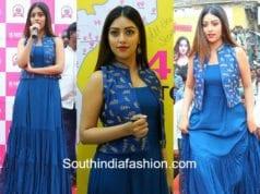 anu emmanuel at mobile store launch in bapatla blue dress