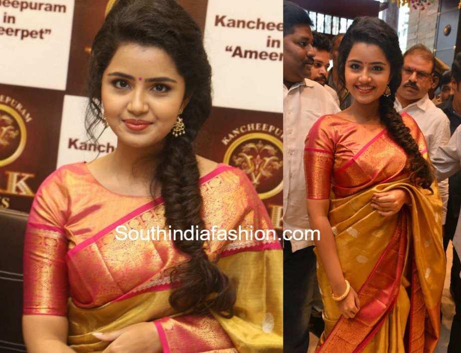 pattu saree with boat neck blouse