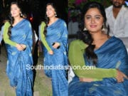 anushka shetty blue saree green full sleeves blouse