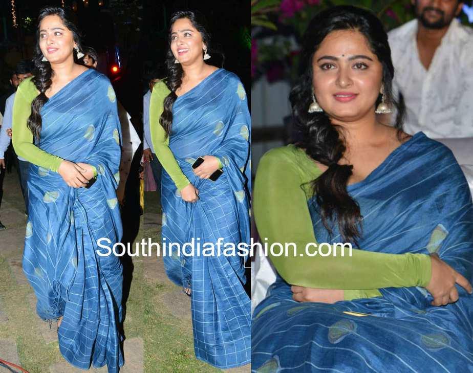anushka shetty blue saree green full sleeves blouse