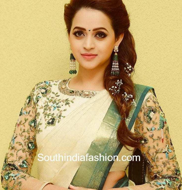 Bhavana wedding white pattu saree designer blouse altavistaventures Image collections