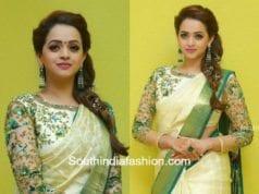bhavana wedding white pattu saree designer blouse