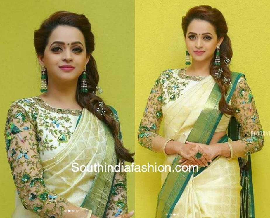 Bhavanas haldi look south india fashion bhavana wedding white pattu saree designer blouse bhavana wedding white pattu saree designer blouse altavistaventures Gallery