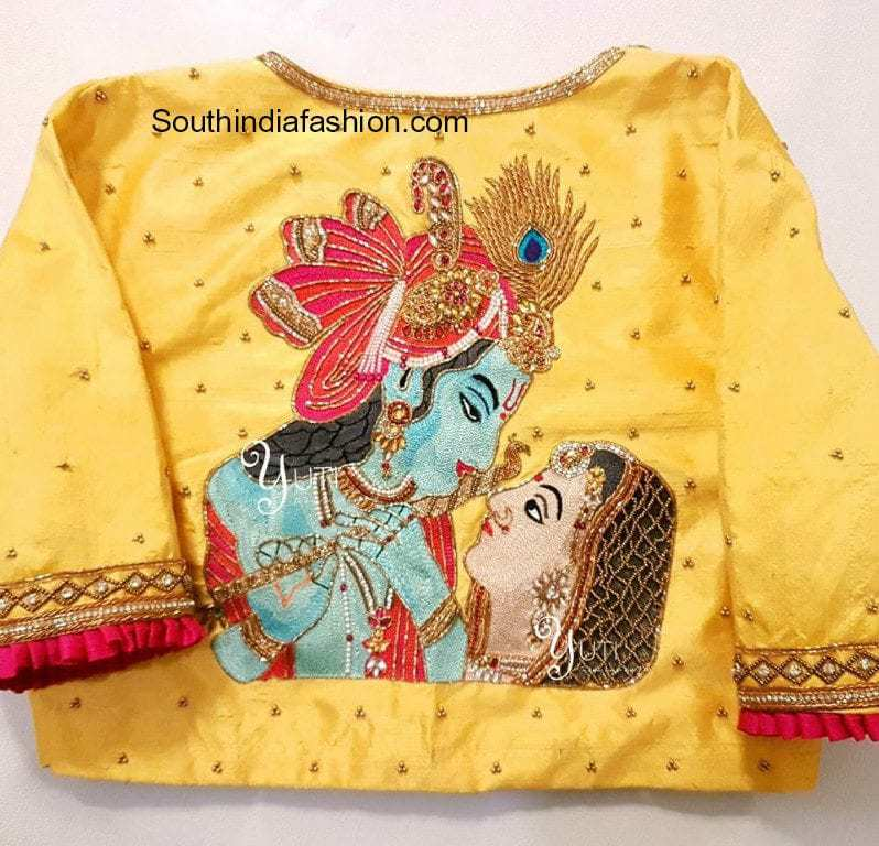 saree blouse designs with goddess embroidery