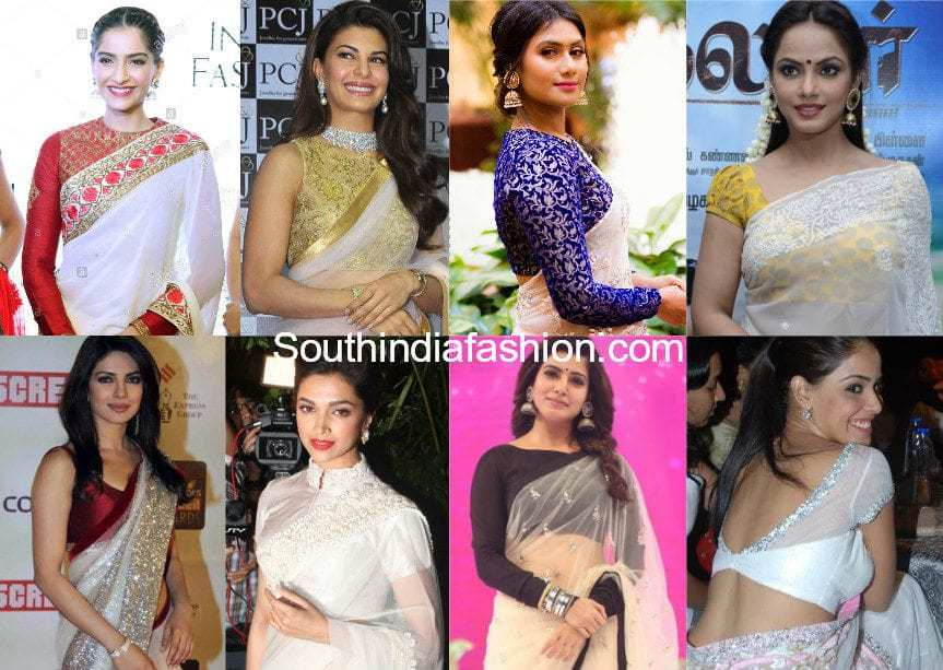 blouse options with white sarees
