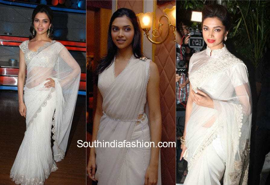 deepika padukone white saree white blouse