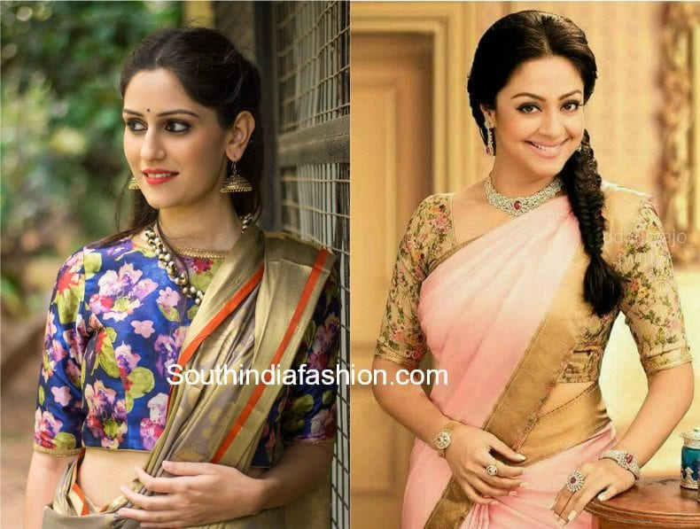 floral blouses with silk sarees